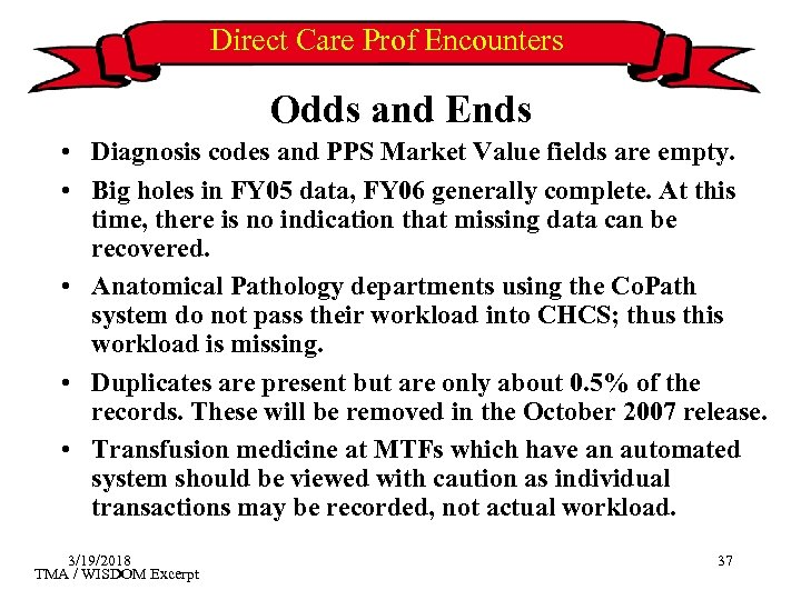 Direct Care Prof Encounters Odds and Ends • Diagnosis codes and PPS Market Value