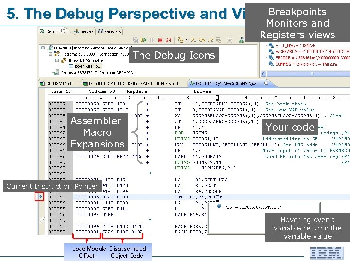 Breakpoints 5. The Debug Perspective and Views Monitors and Registers views The Debug Icons
