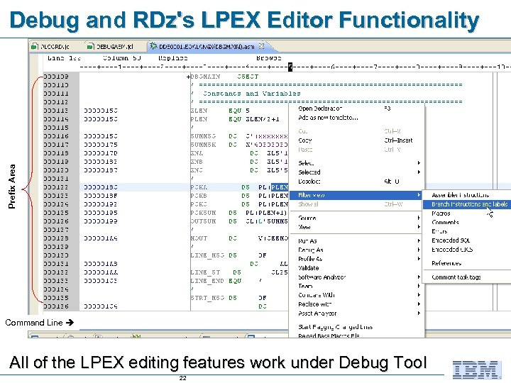 Prefix Area Debug and RDz's LPEX Editor Functionality Command Line All of the LPEX