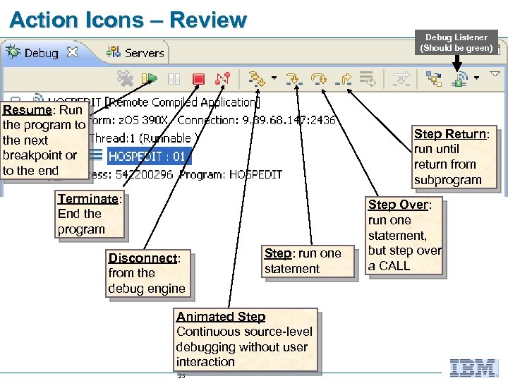 Action Icons – Review Debug Listener (Should be green) Resume: Run the program to