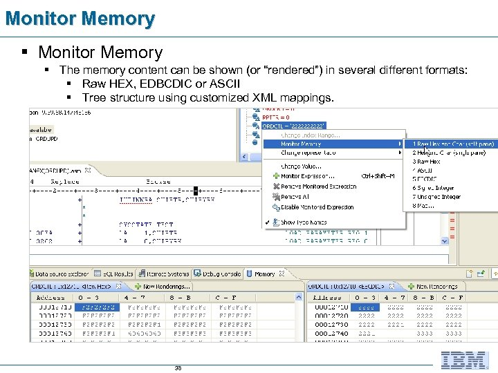 """Monitor Memory § The memory content can be shown (or """"rendered"""") in several different"""