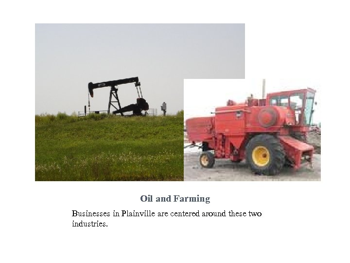 Oil and Farming Businesses in Plainville are centered around these two industries.
