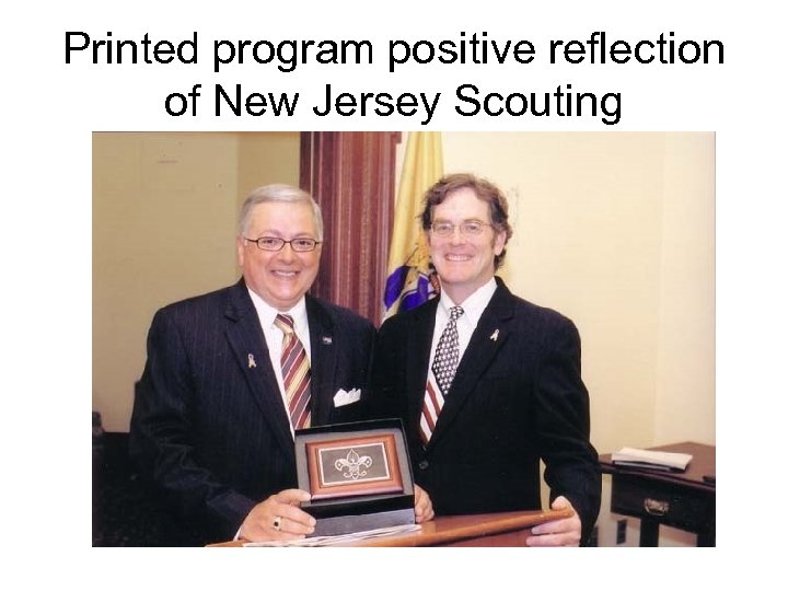 Printed program positive reflection of New Jersey Scouting