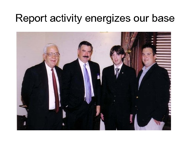 Report activity energizes our base