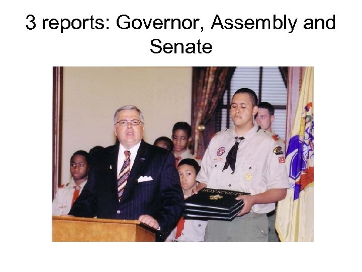 3 reports: Governor, Assembly and Senate