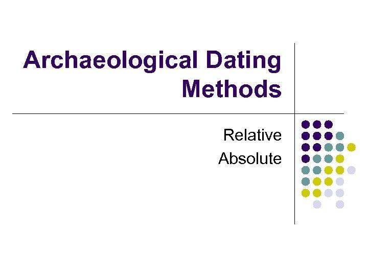 Absolutte dating og relative dating