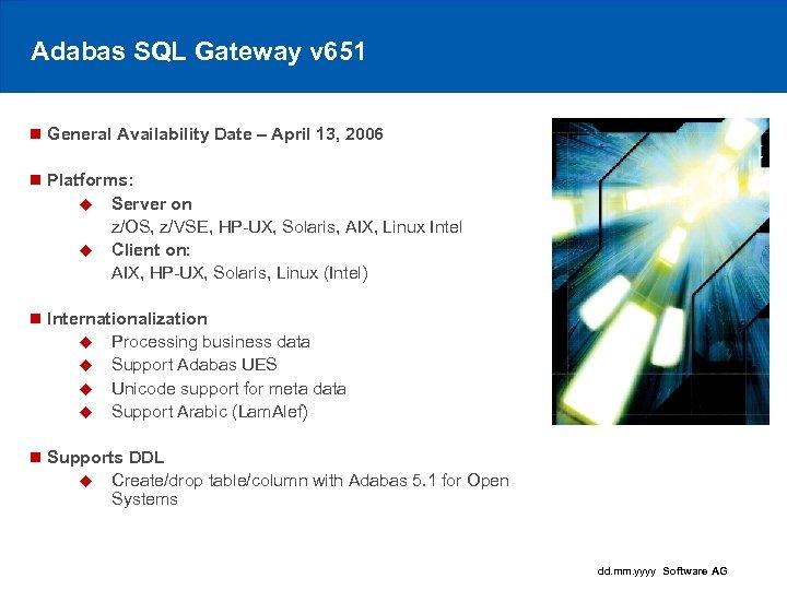 Adabas SQL Gateway v 651 n General Availability Date – April 13, 2006 n