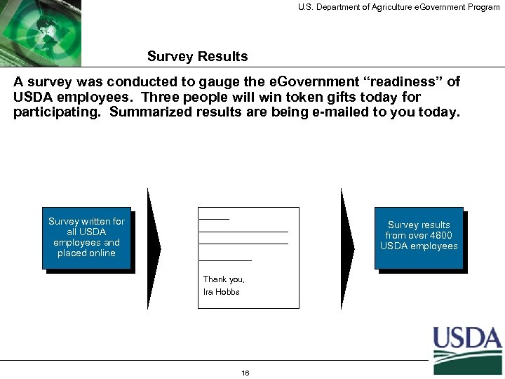 U. S. Department of Agriculture e. Government Program Survey Results A survey was conducted