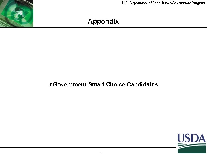 U. S. Department of Agriculture e. Government Program Appendix e. Government Smart Choice Candidates