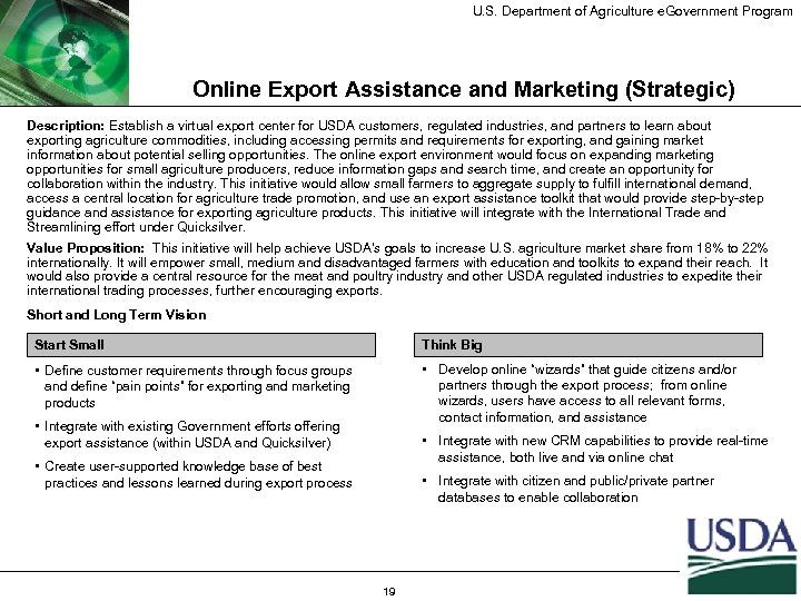 U. S. Department of Agriculture e. Government Program Online Export Assistance and Marketing (Strategic)