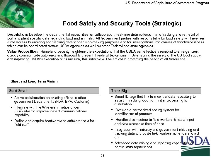 U. S. Department of Agriculture e. Government Program Food Safety and Security Tools (Strategic)