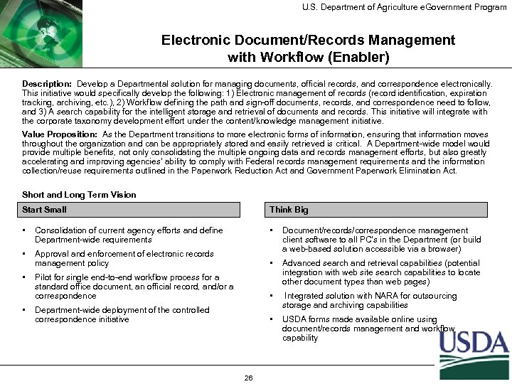 U. S. Department of Agriculture e. Government Program Electronic Document/Records Management with Workflow (Enabler)