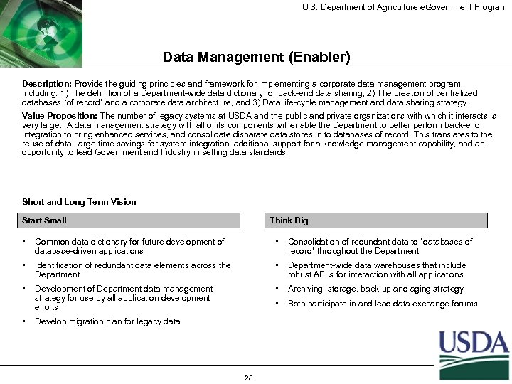 U. S. Department of Agriculture e. Government Program Data Management (Enabler) Description: Provide the