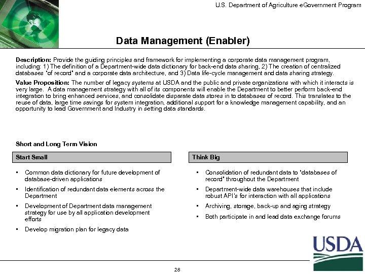 U. S. Department of Agriculture e. Government Program Data Management (Enabler) Description: Provide the