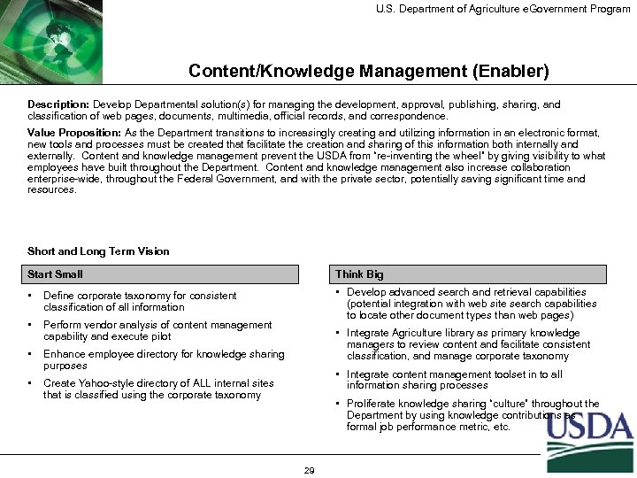 U. S. Department of Agriculture e. Government Program Content/Knowledge Management (Enabler) Description: Develop Departmental