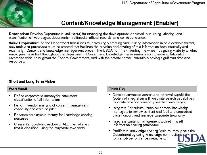 U. S. Department of Agriculture e. Government Program Content/Knowledge Management (Enabler) Description: Develop Departmental