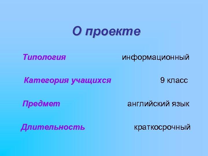 О проекте Типология Категория учащихся Предмет Длительность информационный 9 класс английский язык краткосрочный