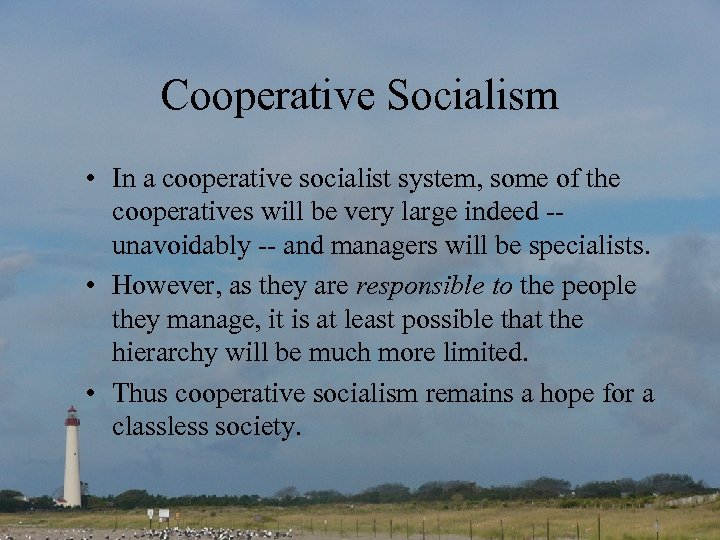 Cooperative Socialism • In a cooperative socialist system, some of the cooperatives will be