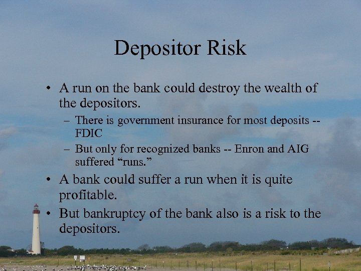 Depositor Risk • A run on the bank could destroy the wealth of the