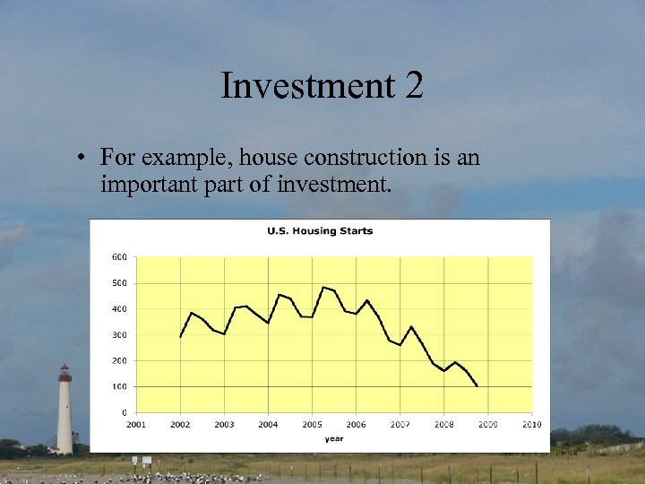 Investment 2 • For example, house construction is an important part of investment.