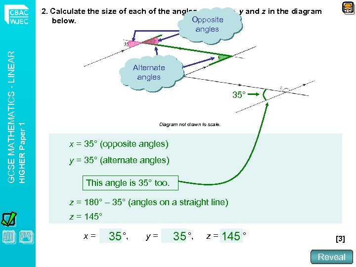 Alternate angles 35° HIGHER Paper 1 GCSE MATHEMATICS - LINEAR 2. Calculate the size