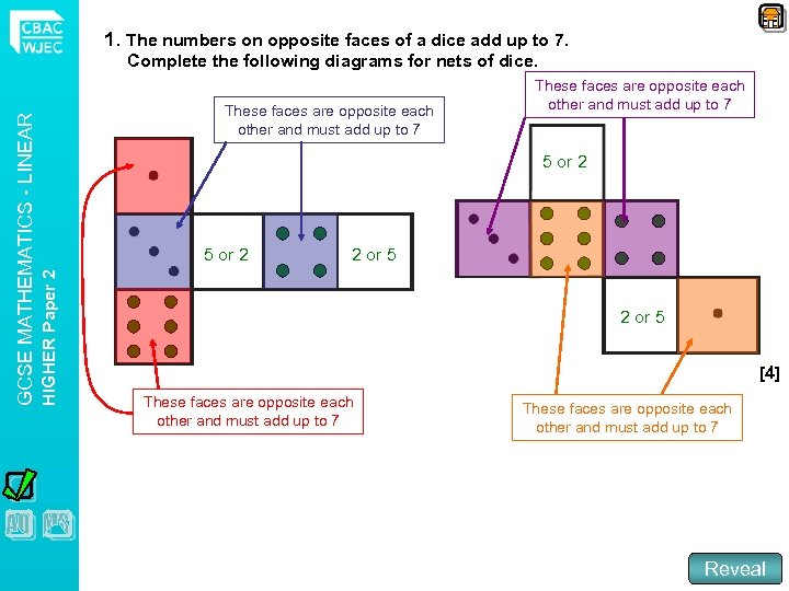 1. The numbers on opposite faces of a dice add up to 7. These