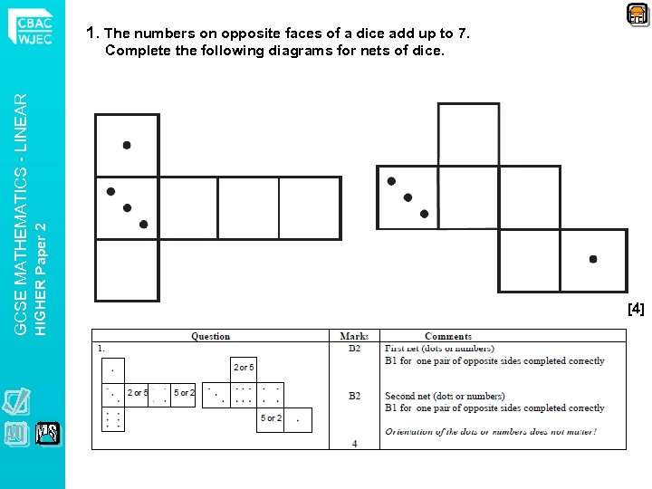 1. The numbers on opposite faces of a dice add up to 7. HIGHER