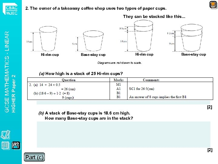 2. The owner of a takeaway coffee shop uses two types of paper cups.