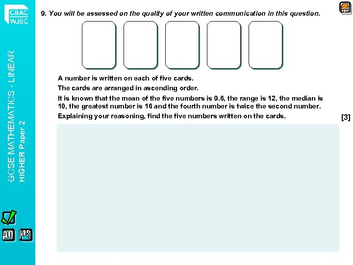 A number is written on each of five cards. The cards are arranged in