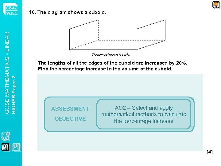 Diagram not drawn to scale. The lengths of all the edges of the cuboid
