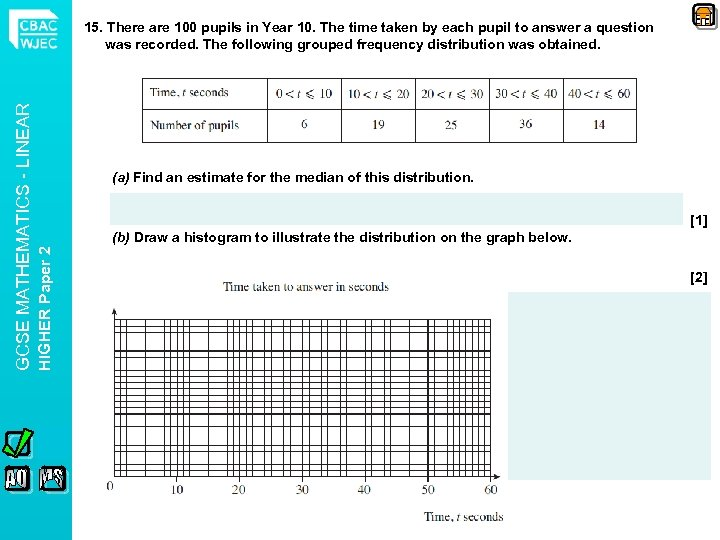 (a) Find an estimate for the median of this distribution. [1] (b) Draw a