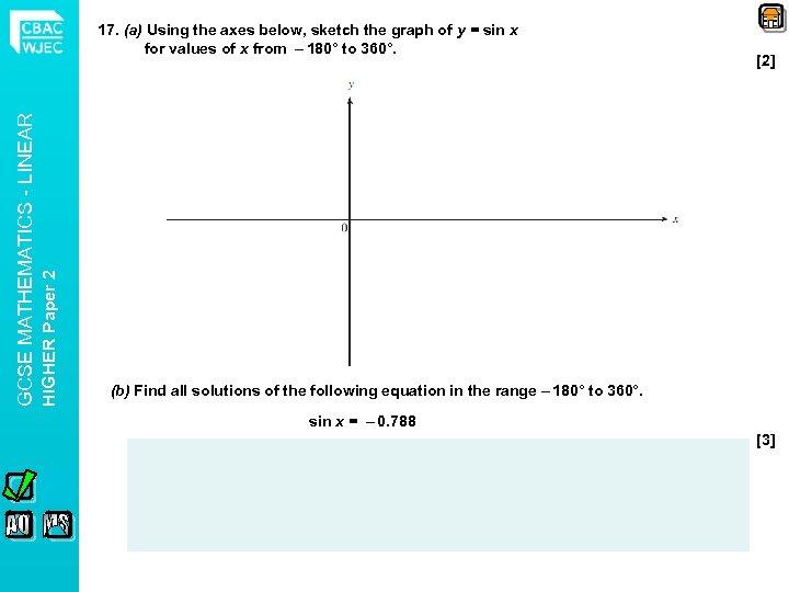HIGHER Paper 2 GCSE MATHEMATICS - LINEAR 17. (a) Using the axes below, sketch