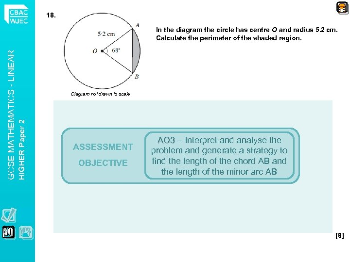 18. Diagram not drawn to scale. HIGHER Paper 2 GCSE MATHEMATICS - LINEAR In