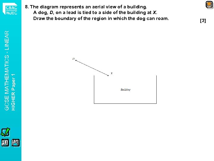 HIGHER Paper 1 GCSE MATHEMATICS - LINEAR 8. The diagram represents an aerial view