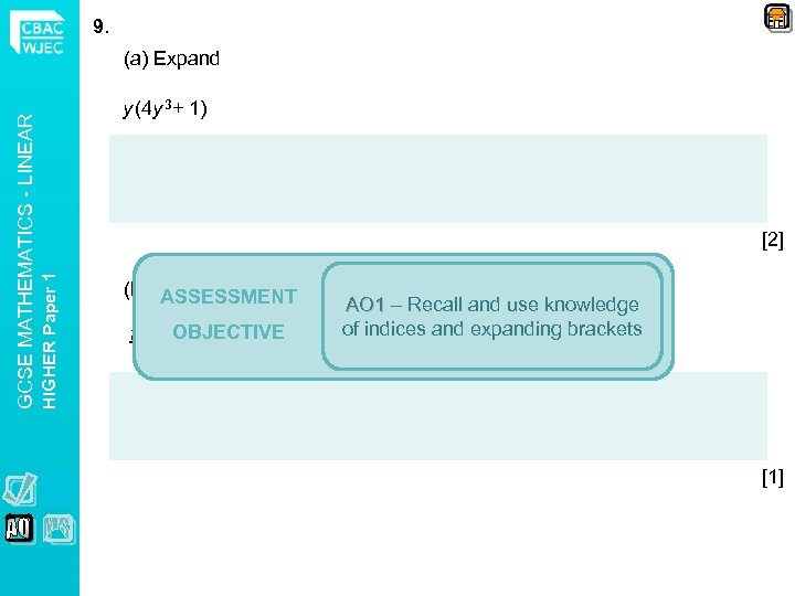 9. y (4 y 3+ 1) [2] HIGHER Paper 1 GCSE MATHEMATICS - LINEAR