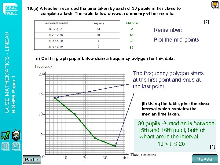 10. (a) A teacher recorded the time taken by each of 30 pupils in
