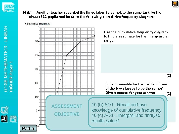 Use the cumulative frequency diagram to find an estimate for the interquartile range. HIGHER
