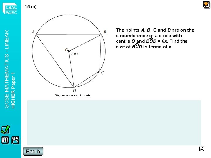 The points A, B, C and D are on the circumference of a circle