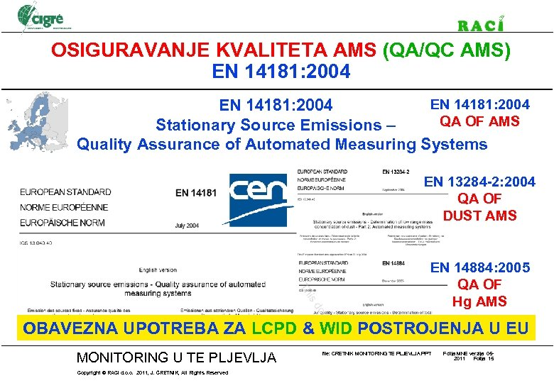 OSIGURAVANJE KVALITETA AMS (QA/QC AMS) EN 14181: 2004 QA OF AMS Stationary Source Emissions