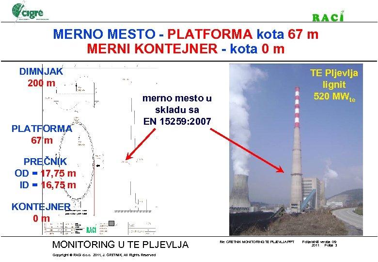 MERNO MESTO - PLATFORMA kota 67 m MERNI KONTEJNER - kota 0 m DIMNJAK