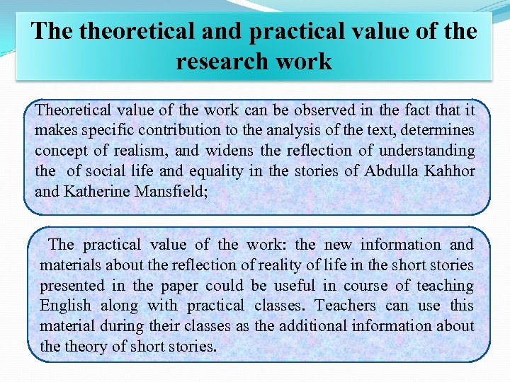 The theoretical and practical value of the research work Theoretical value of the work
