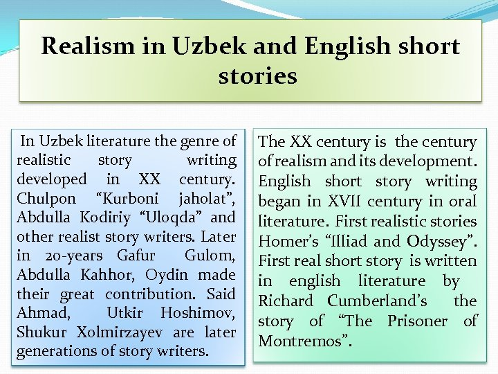 Realism in Uzbek and English short stories In Uzbek literature the genre of realistic