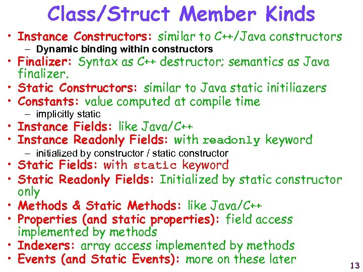 Class/Struct Member Kinds • Instance Constructors: similar to C++/Java constructors – Dynamic binding within