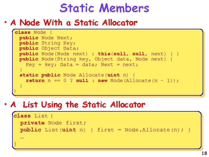 Static Members • A Node With a Static Allocator class Node { public Node