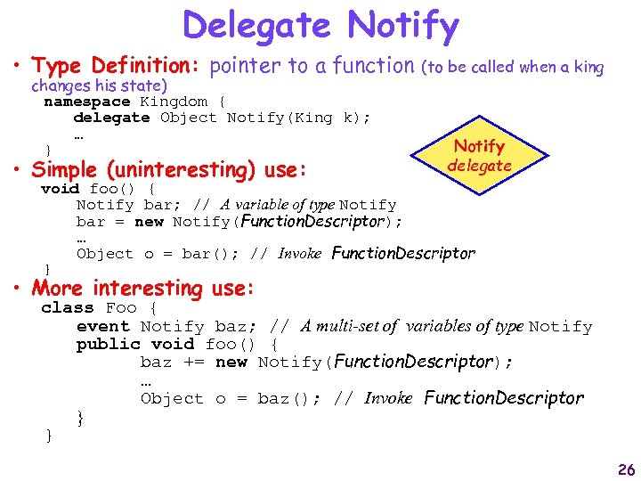 Delegate Notify • Type Definition: pointer to a function changes his state) namespace Kingdom