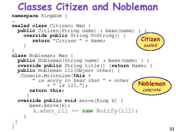 Classes Citizen and Nobleman namespace Kingdom { … sealed class Citizen: Man { public