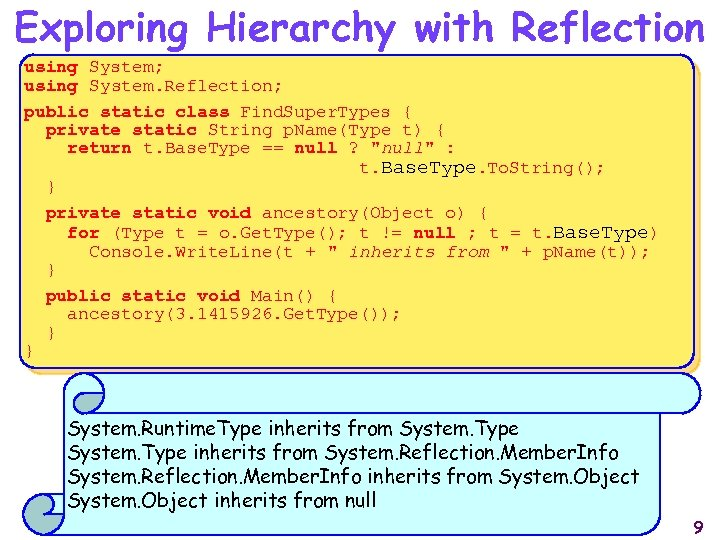 Exploring Hierarchy with Reflection using System; using System. Reflection; public static class Find. Super.