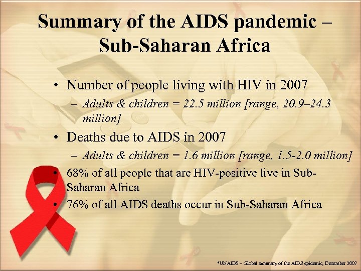Summary of the AIDS pandemic – Sub-Saharan Africa • Number of people living with