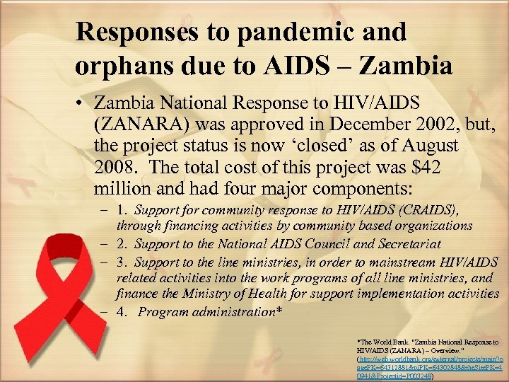 Responses to pandemic and orphans due to AIDS – Zambia • Zambia National Response