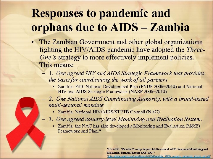 Responses to pandemic and orphans due to AIDS – Zambia • The Zambian Government
